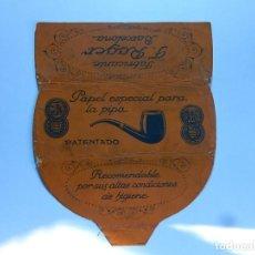 Papel de fumar: ENVOLTURA O PARTE DE ELLA, DE UN LIBRILLO PAPEL DE FUMAR ESPECIAL PARA LA PIPA. F. ROGER. BARCELONA.. Lote 194084310