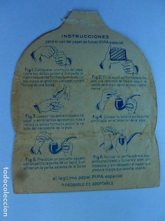 Papel de fumar: Envoltura o parte de ella, de un librillo papel de fumar especial para la pipa. F. Roger. Barcelona. - Foto 5 - 194084310