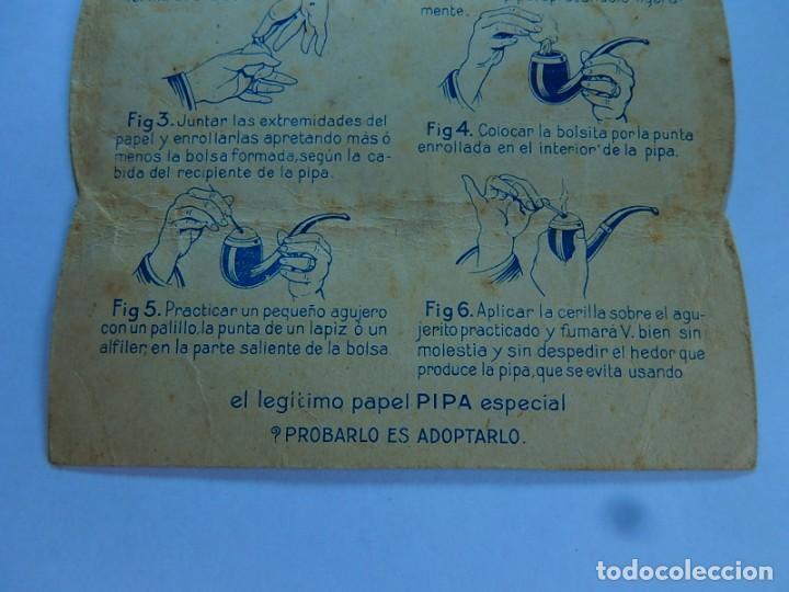 Papel de fumar: Envoltura o parte de ella, de un librillo papel de fumar especial para la pipa. F. Roger. Barcelona. - Foto 8 - 194084310