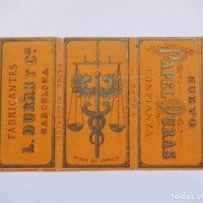Papel de fumar: ENVOLTURA O PARTE DE ELLA DE UN LIBRILLO PAPEL DE FUMAR. L. DURAS. BARCELONA.. Lote 194648116