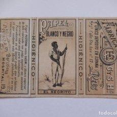 Papel de fumar: ENVOLTURA DE UN LIBRILLO PAPEL DE FUMAR. PAPEL BLANCO Y NEGRO. EL NEGRITO. G Y S HS. REUS. BARCELONA. Lote 194648177