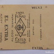 Papel de fumar: ENVOLTURA DE LIBRILLO PAPEL DE FUMAR. O H. EL EXTRA. ALCOY. ALICANTE. BUENOS AIRES.. Lote 194648800