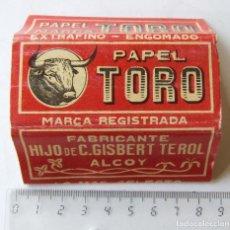 Papel de fumar: PAPEL DE FUMAR EL TORO PLEGADO GISBERT TEROL ALCOY MADE IN SPAIN. Lote 194685316