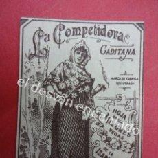 Papel de fumar: LA COMPETIDORA GADITANA. ETIQIUETA PAPEL DE FUMAR 6,5 X 4,5 CTMS. Lote 194927217