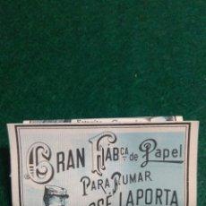 Papel de fumar: PAPEL DE FUMAR LIBRILLO MUY ANTIGUO JOSE LA PORTA VALENCIA. Lote 195688267