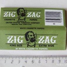 Papel para cigarros: PAPEL DE FUMAR ZIG ZAG KING SIZE EXTRA WIDE TAMAÑO LARGO MADE IN GREAT BRITAIN PARA USA. Lote 200839691