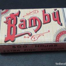 Papel de fumar: PAPEL DE FUMAR BAMBÚ 500 HOJAS AÑOS ALCOY. AÑO 1920,S. RESELLO CORONA MONÁRQUICA Y SC. Lote 204103683