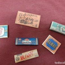 Papel de fumar: LOTE 6 LIBRILLOS PAPEL DE FUMAR... AUTOMOVIL.. BAMBU.. CARABELA.... Lote 204365057