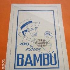 Papel de fumar: PUBLICIDAD 1929 - COLECION TABACO - PAPEL DE FUMAR BAMBU. Lote 204412508