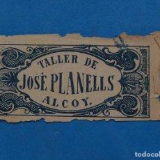 Papel de fumar: ENVOLTURA O PARTE DE ELLA DE UN LIBRILLO PAPEL DE FUMAR. TALLER DE JOSÉ PLANELLS. ALCOY. ALICANTE.. Lote 204697246