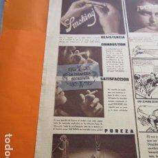 Papel de fumar: PUBLICIDAD 1936 - PAPEL DE FUMAR SMOKING - TAMAÑO 12 X 36 CM.. Lote 204993348