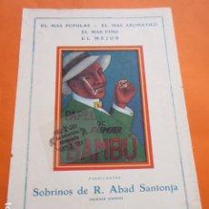 Papel de fumar: PUBLICIDAD 1930 - COLECION TABACO - PAPEL DE FUMAR BAMBU ALCOY SOBRINOS R. ABAD SANTONJA. Lote 212321875