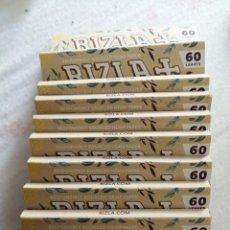 Papel de fumar: LOTE 10 LIBRITOS PAPEL DE FUMAR RIZLA+ 60 LEAVES NATURA. Lote 214485326