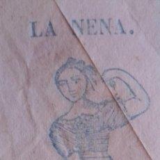 """Papel de fumar: PAPEL DE FUMAR. ANTIGUO LIBRILLO, COMIENZOS S. XIX. GRABADO XILOGRAFICO. """"LA NENA"""". Lote 215097352"""