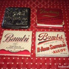 Papel de fumar: ESTUCHE DE HOJALATA PARA EL PAPEL DE FUMAR MARFIL Y 3 CARTERITAS DE PAPEL - BAMBÚ Y SMOKING. Lote 217328480