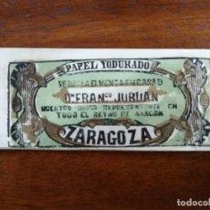 Papel de fumar: LIBRITO PAPEL DE FUMAR - PAPEL YODURADO ALEJANDRO PÉREZ ( ZARAGOZA ) - ANTERIOR A 1833 REYNO ARAGÓN. Lote 218030323