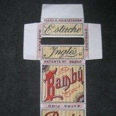 Papel de fumar: PAPEL DE FUMAR BAMBU. ESTUCHE INGLES. SOBRINOS DE ABAD SANTOJA. ALCOY. Lote 221957138