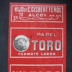 Papel de fumar: PAPEL DE FUMAR TORO (FORMATO LARGO). HIJO DE C. GISBERT TEROL. ALCOY. Lote 221957981