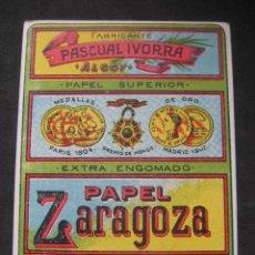 Papel de fumar: PAPEL DE FUMAR ZARAGOZA. PASCUAL IVORRA. ALCOY.. Lote 221958301