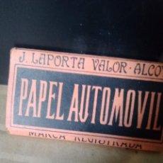 Papel de fumar: PAPEL AUTOMOVIL PAPEL DE FUMAR J.LAPORTA VALOR ALCOY. Lote 224950205