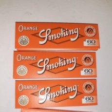 Papier à rouler: 4 LIBRITOS PAPEL FUMAR NARANJA, MARCA SMOKING, NUEVOS Y SIN ESTRENAR, 60 HOJAS CADA UNIDAD. Lote 240913995