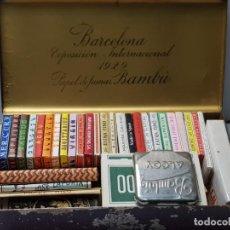 Papel de fumar: LIBRILLOS PAPEL DE FUMAR LOTE 41 DISTINTOS TODOS DE ALCOY SIN USO EN CAJA BAMBU 1929. Lote 241075915