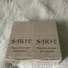 Papel de fumar: PAPEL DE FUMAR DE CAÑAMO 1.1/4 - SATIVO - 2 CAJAS CON 100 LIBRITOS DE 50 PAPELES, LANJARON, GRANDA. Lote 259920340