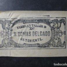 Papel de fumar: ONTENIENTE VALENCIA PORTADA YHOJA DE PAPEL DE FUMAR FÁBRICA Y TALLER DON R. COMAS DELGADO S. XIX. Lote 265559674
