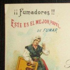 Papier à rouler: POSTAL DE ESTREMERA HERMANOS CON PUBLICIDAD DE PAPEL DE FUMAR ASTURIAS. OVIEDO, 1902.. Lote 268428724