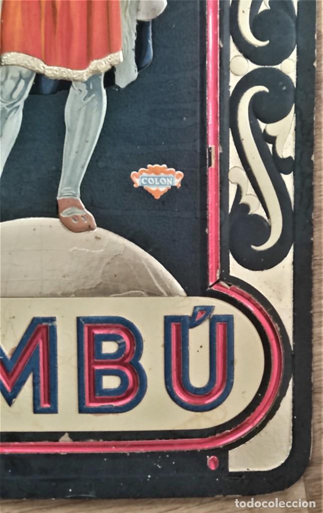Papel de fumar: BAMBÚ, PAPEL DE FUMAR - ORIGINAL CARTEL PUBLICIDAD CON RELIEVE 34 X 48 CM - COLÓN - AÑOS 30 - Foto 6 - 269771348