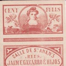 Papel de fumar: PAPEL DE FUMAR JAIME GAVARRO E HIJOS REUS PAPEL DE SABADELL. Lote 277130768