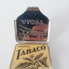 Papel de fumar: BAMBU CARTERA FUNDA LATA LIBRILLO PAPEL DE LIAR LATÓN OLD METAL ESTUCHE CUADRADO ALCOY. Lote 278398808