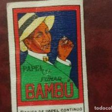 Papel de fumar: PALILLERO PUBLICIDAD DE PAPEL DE FUMAR BAMBU. Lote 288963803
