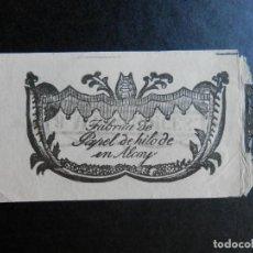 Papel de fumar: ALCOY ALICANTE PUBLICIDAD PAPEL FUMAR SIGLO XIX DE HILO LEJITIMOS. Lote 289306243
