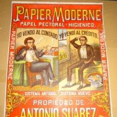 Papel de fumar: (M) CARTEL PAPEL DE FUMAR - PAPIER MODERNE ANTONIO SUAREZ, SEVILLA, PRINCIPIOS S.XX, PAPEL PECTORAL. Lote 290044893