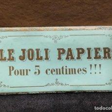 Papel de fumar: PAPEL DE FUMAR -LE JOLI PAPIER - ROUFFIA FRERES - PERPIGNAN (FRANCIA AÑO 1867) VERDE. Lote 293878368