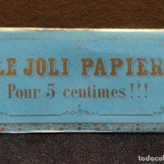 Papel de fumar: PAPEL DE FUMAR -LE JOLI PAPIER - ROUFFIA FRERES - PERPIGNAN (FRANCIA AÑO 1867) CELESTE. Lote 293878448