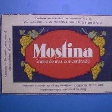 Coleccionismo Papel secante: MOSTINA. ZUMO DE UVA CONCENTRADO ( PAPEL SECANTE ANTIGUO ). Lote 4040638