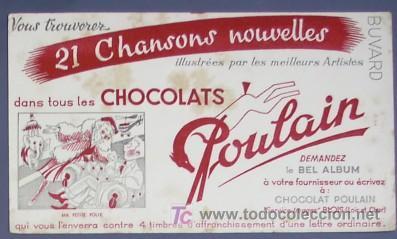 PAPEL SECANTE CHOCOLATES POULAIN. APROXIMADAMENTE AÑOS 50. (Coleccionismo - Papel Secante)