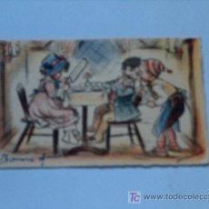 Coleccionismo Papel secante: BONITA TARJETA FRANCESA CON DIBUJO PARA FELICITAR EL AÑO. Lote 3370456