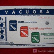 Coleccionismo Papel secante: VACUOSA, TRATAMIENTO COLOIDAL DEL ESTREÑIMIENTO. Lote 4481170