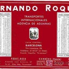 Coleccionismo Papel secante: PAPEL SECANTE, FERNANDO ROQUE, TABLAS DE VALENCIAS. Lote 4619980