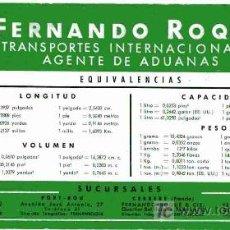 Coleccionismo Papel secante: PAPEL SECANTE, FERNANDO ROQUE, EQUIVALENCIAS. Lote 4619991