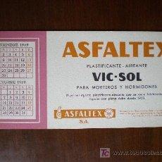 Coleccionismo Papel secante: SECANTE ASFALTEX. PLASTIFICANTE / AIREANTE VIC - SOL. CALENDARIO SEPTIEMBRE Y OCTUBRE DE 1959. . Lote 5948162