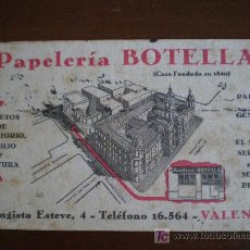 Coleccionismo Papel secante: SECANTE PAPELERIA BOTELLA. CASA FUNDADA EN 1840. VALENCIA.. Lote 27037606