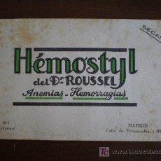 Coleccionismo Papel secante: SECANTE HEMOSTYL DEL DR. ROUSSEL. ANEMIAS - HEMORRAGIAS. PARIS Y MADRID.. Lote 180850717