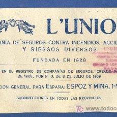 Coleccionismo Papel secante: PAPEL SECANTE DE SEGUROS L'UNION. Lote 20528166