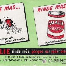 Coleccionismo Papel secante: AMALIE ACEITES PARA COCHES. Lote 6699619