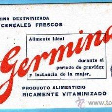 Collezionismo Carta assorbente: PAPEL SECANTE. HARINA DEXTRINIZADA DE CEREALES FRESCOS, GERMINASE. SIN FECHA.. Lote 210949867