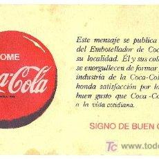 Coleccionismo Papel secante: CARTEL PUBLICITARIO. COCA - COLA. CARTON. MEDIDAS: 16CM X 29CM.. Lote 8727702